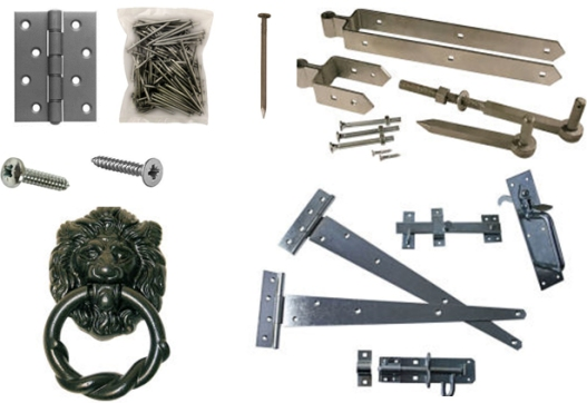 Screws, nails, hinges latches and other ironmongery products